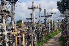 Alley of crosses on The Hill of Crosses stock image