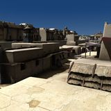 Alley - Day. 3D Render of an Alley - Day Royalty Free Stock Photo