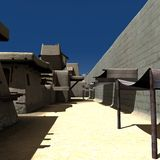 Alley - Day. 3D Render of an Alley - Day Royalty Free Stock Images