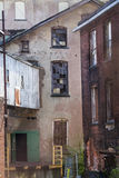 Alley detail at old mills of Rockville, Connecticut. Royalty Free Stock Image
