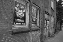 Alley. A Dutch alley in black and white royalty free stock photo