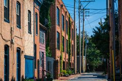 An alley in Fells Point, Baltimore, Maryland.  stock image
