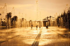 Alley of fountains Royalty Free Stock Image