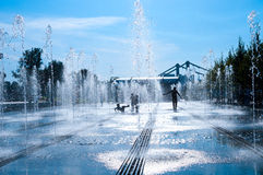 Alley of fountains Royalty Free Stock Photography