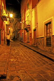 Alley- Guanjuato, Mexico. Narrow streets illuminated at night in the colonial mining town of Guanajuato, Mexico Royalty Free Stock Photo