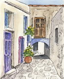 Alley. A handpainted illustration with watercolor  and ink pen from an alley of a Greek village in Cyclades Stock Images