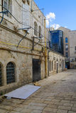 Alley in the historic Nachalat Shiva district, Jerusalem, Israel Royalty Free Stock Photo