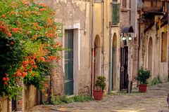 Alley in the historical center of Benevento, Italy stock image