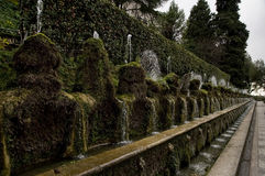 The Alley of Hundred Fountains. The alley of one hundred fountains in the park of Villa d'Este in Tivoli Royalty Free Stock Photography