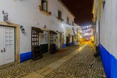 Free Alley In The Old Town, With Christmas Decorations, Obidos Stock Image - 141314661