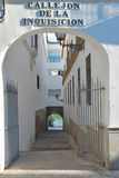 The Alley of the inquisition. Is a narrow passage that communicates Castilla Street with the Walk of the Virgin of the O, on the banks of the river Guadalquivir stock photo