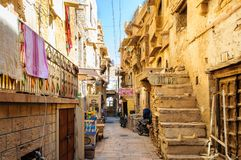 Alley inside Golden Fort of Jaisalmer, Rajasthan India Royalty Free Stock Images
