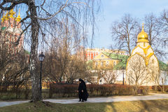 Alley inside the picturesque and well maintained territory of the Novodevichy convent. Moscow. Stock Photos
