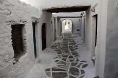 Alley in Kastro traditional village, Sifnos island, Greece. royalty free stock photography