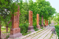 The alley of Khachkars stock photo