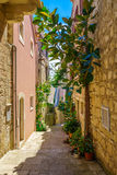 Alley in Korcula, Croatia Royalty Free Stock Photos