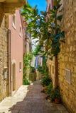 Alley in Korcula, Croatia Royalty Free Stock Photos