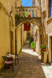 Alley in Korcula, Croatia Stock Photo