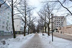 Alley in Kotka at winter Stock Photography