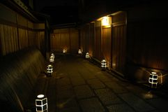 Alley with lanterns Royalty Free Stock Photos