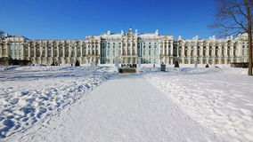 Alley leading to the Catherine Palace in Pushkin. Alley leading to the Catherine Palace, and walking tourists,  in winter in Pushkin (Tsarskoye selo), the stock video