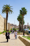 Alley leading to the Jaffa Gate. Tall palm trees, tourists and a Stock Photos
