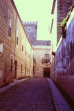 ALLEY LEADING UP TO THE GROUND-FLOOR ENTRANCE INTO THE LATE FRANCISCO FRANCO`S REVOLUTIONARY HEADQUARTERS Royalty Free Stock Photography