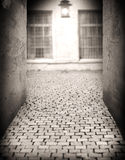 Alley by the light of a lantern at night royalty free stock photography