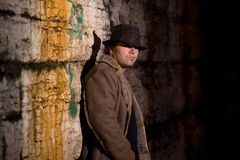 Alley Man. Man with hat and coat in dark alley Stock Photography