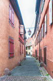 Alley in a medieval town of alsace Stock Image
