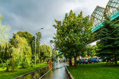 Alley of Moscow Gorky park after the summer rain. Andreevsky ped Stock Photography