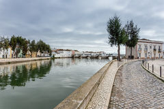 Alley near the river to the center of the town of Tavira. Royalty Free Stock Image