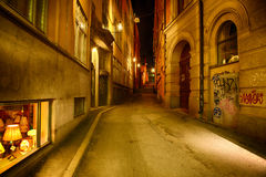 Alley at night. Stockholm, Sweden Royalty Free Stock Photo