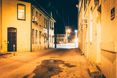 Alley at night, in Hanover, Pennsylvania. Stock Photography
