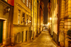 Alley at night. Stockholm, Sweden Stock Photo