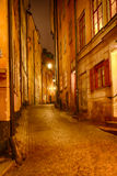 Alley at night. Stockholm, Sweden Stock Photos