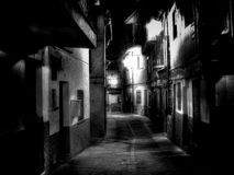The alley. Night vision from a alley of Extremadura village (Spain Stock Image