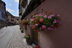 Alley of old colorful houses. Small alley of old colorful half-timbered houses in alsace in france stock image