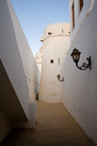 Alley in old fort in UAE. Interior alley in old fort in Abu Dhabi in UAE in Middle East royalty free stock photo