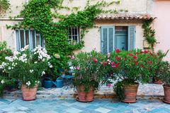 Alley in an old Provencal village. Picture of a picturesque alley in an old Provencal village, Provence, France Royalty Free Stock Photo