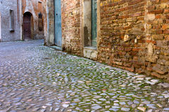 Alley in the old town. Dirty alley in the old town with pavement of porphyry cobblestones Stock Images