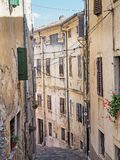 Alley in the old town of Motovun, Istria, Croatia.  stock photography
