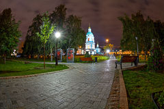 Alley of one of the Moscow park night Royalty Free Stock Image