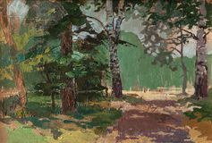 Landscape painting showing road through forest on beautiful summer day. Art concept. Alley in the park among the different trees. Sunny day for a walk. Different Stock Photo