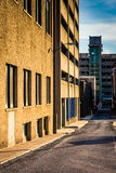 Alley and parking garages in downtown Harrisburg, Pennsylvania. Royalty Free Stock Images