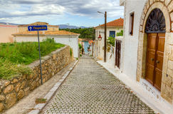Alley in the picturesque town of Galaxidi, Phocis, Greece Stock Images