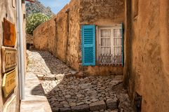 Alley in Pigna (Cosica, France). Pigna is a small artists and craftsmen town with a lot of small alleys (Corsica, Fance Stock Images