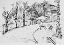 Alley with place for picnic,sketch pencil Stock Photography