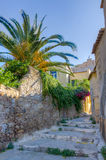 Alley in Plaka, Acropolis in background, Athens Royalty Free Stock Images
