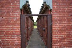 Alley in Portsea Quarantine zone. Old unused quarantine zone in Portsea Stock Photos